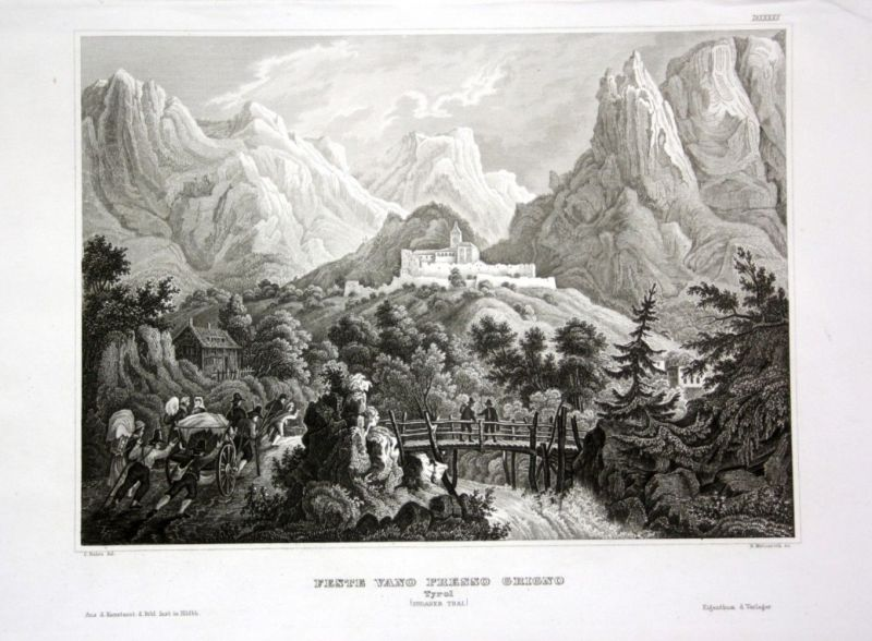 Ca. 1840 Grigno Ansicht view veduta Italien Italy Tirol Stahlstich engraving