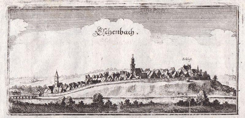 1650 Eschenbach Oberpfalz Gesamtansicht view Kupferstich antique print Merian