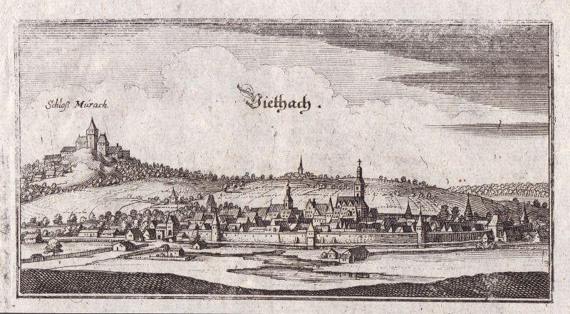 Ca. 1650 Oberviechtach Schwandorf Ansicht view Kupferstich antique print Merian