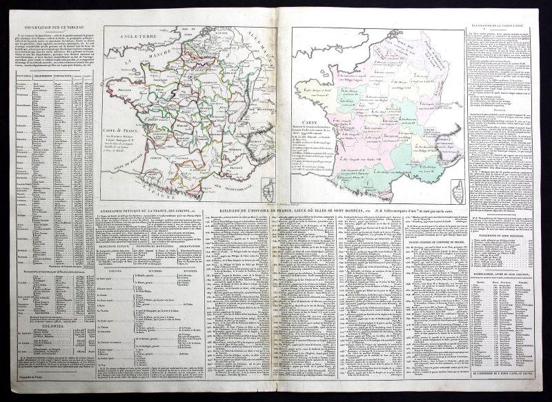 1803 Frankreich France gravure Karte map Kupferstich antique print Le Sage