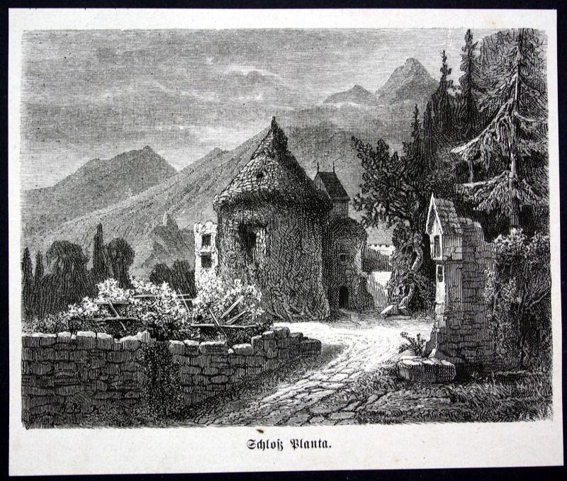 Ca. 1870 Schloss Planta Meran Italia Italy Ansicht Holzstich antique print