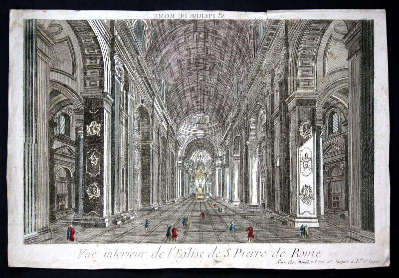 Basilica di San Pietro in Vaticano Guckkastenblatt acquaforte antique print