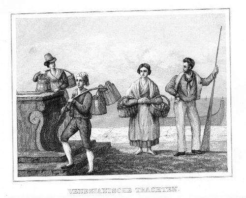 1840 - Venetia Italia Costumes incisione acquaforte 51157