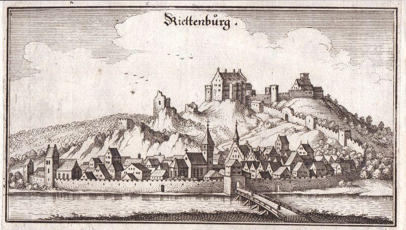 Ca. 1650 Riedenburg Kelheim Gesamtansicht view Kupferstich antique print Merian