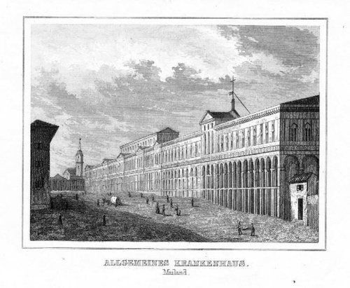 1840 - Milano Mailand incisione Original Stahlstich acquaforte veduta 55618