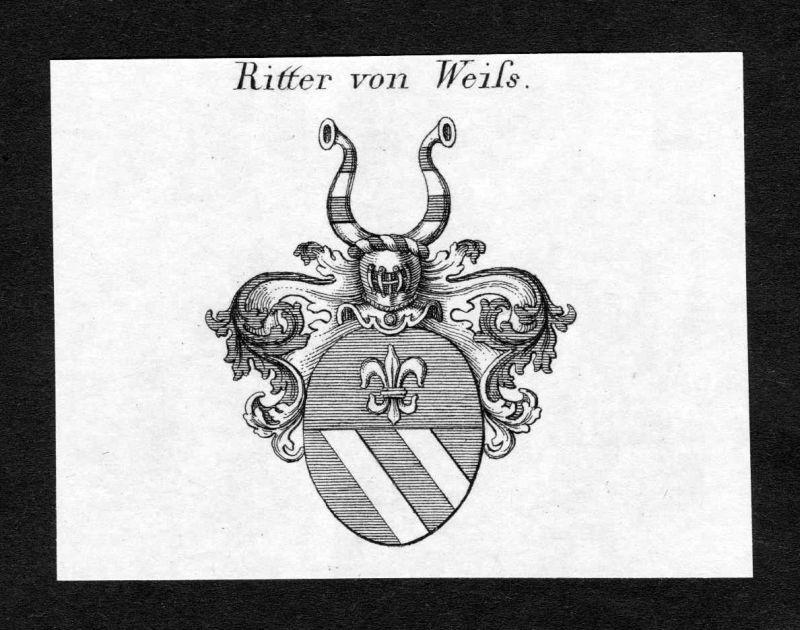 Ca. 1820 Weiss Wappen Adel coat of arms Kupferstich antique print heraldry