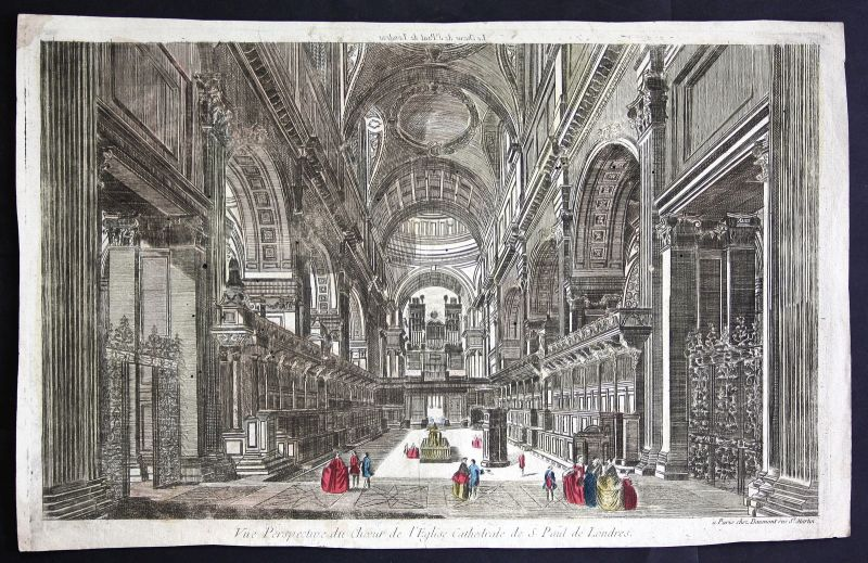 18th century St. Paul's Cathedral London optical view Kupferstich antique print