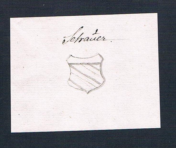 18. Jh. Schauer Adel Handschrift Manuskript Wappen manuscript coat of arms