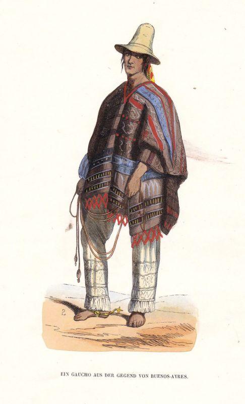 1840 Buenos Aires Argentinien Argentina Gaucho cowboy Tracht costume Grafik