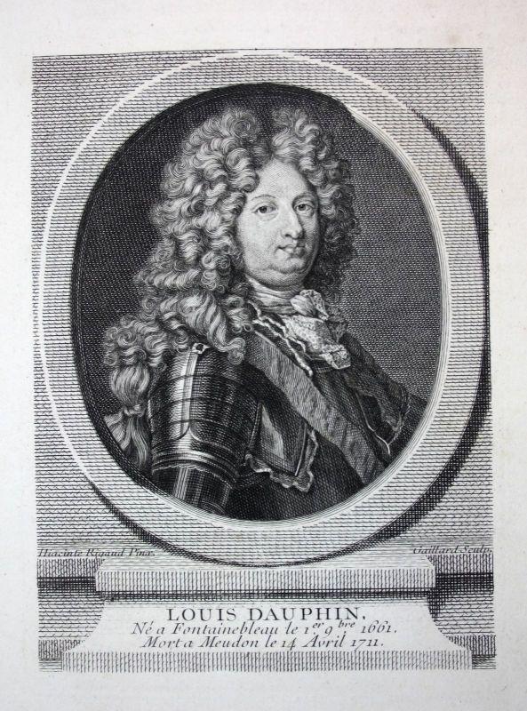18. Jh. Louis de Bourbon Dauphin Feldherr Frankreich Kupferstich Portrait gravur