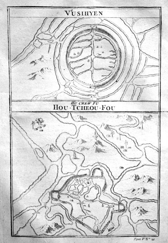 1750 China Asia Asien city Stadt Plan Karte map Kupferstich antique print Bellin