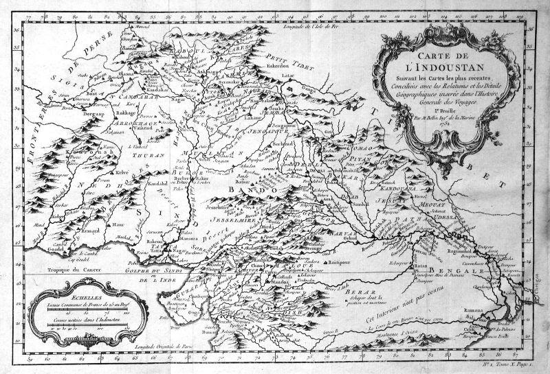 1752 Indien India Pakistan Asia Karte map Kupferstich antique print Bellin