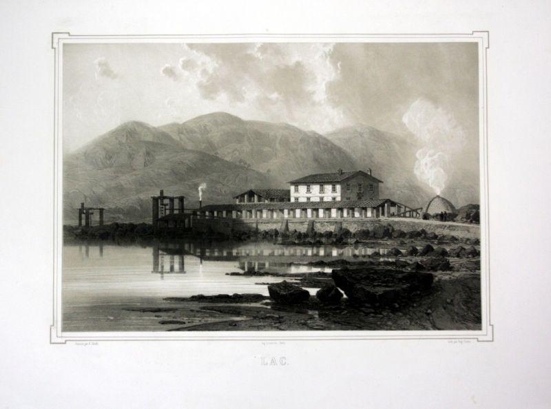 Ca. 1860 Lago Boracifero Toskana Italien view Ansicht veduta Lithographie Litho