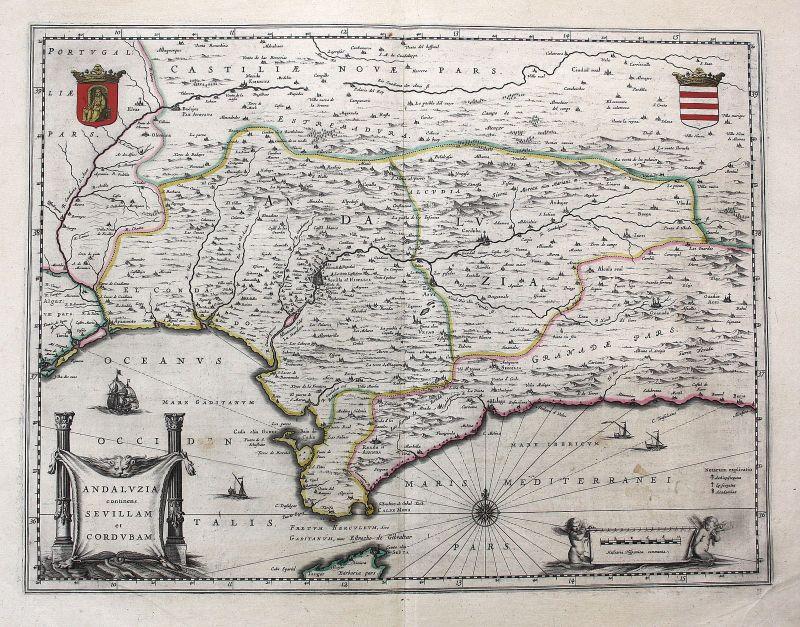 Ca 1650 Andalucia Sevilla Cordoba Gibraltar Blaeu map Karte Espana Spain  grabado