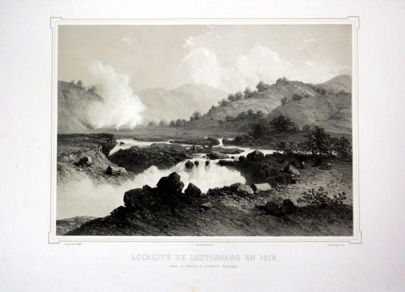 Ca. 1860 Lustignano Ansicht Toskana Italien Italy veduta view Lithographie Litho