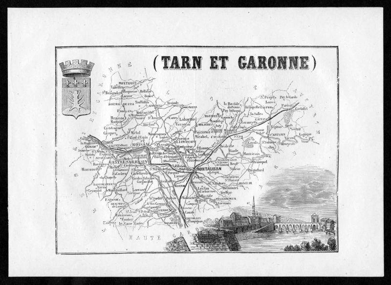 1860 - Tarn et Garonne Montauban Frankreich France Departement Karte map