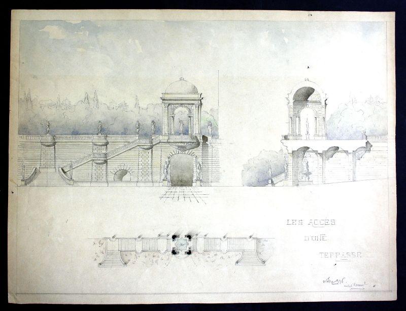 Terrasse terrace Architektur architecture design Handzeichnung drawing Cuminal