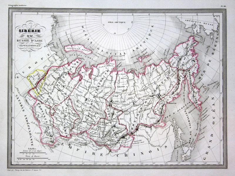 1837 Asien Asia Sibirien Siberia map Karte carte Kupferstich antique print