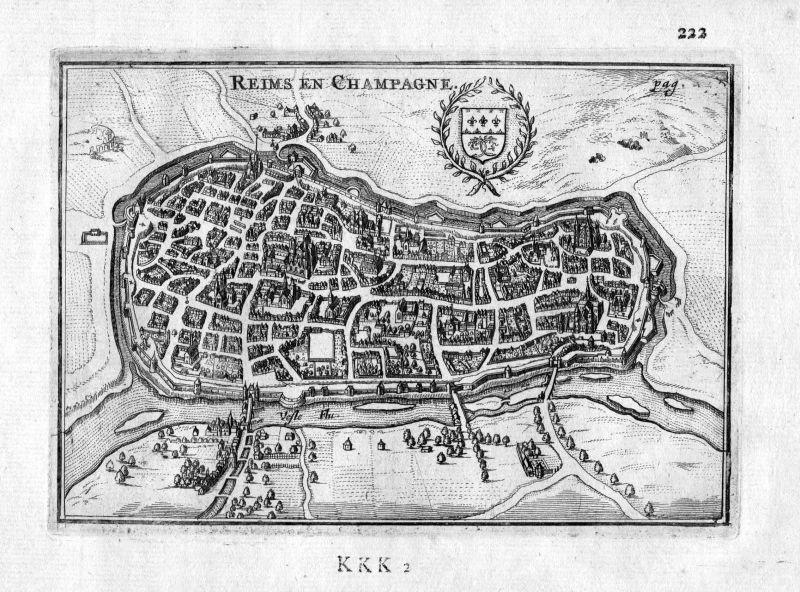 1666 Reims Marne Alsace Champagne Frankreich France gravure estampe Kupferstich