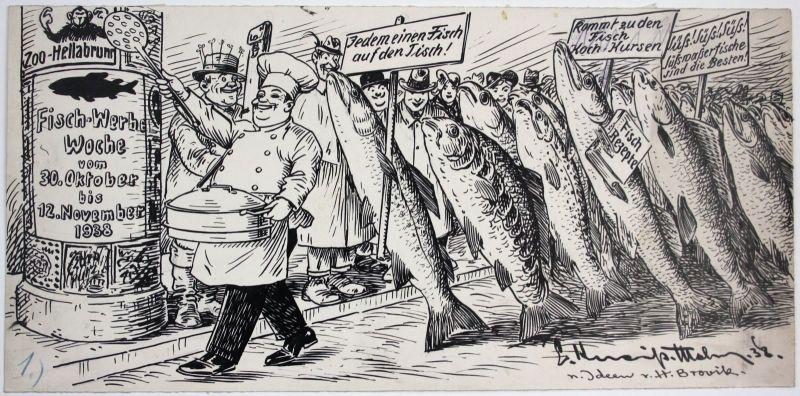 1938 München Zoo Hellabrunn Fisch Werbe Woche Karikatur Zeichnung signiert