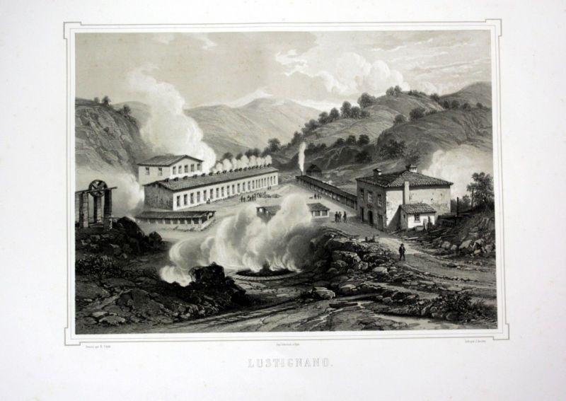 Ca 1860 Lustignano Ansicht Toskana Italien Italia veduta view Lithographie Litho