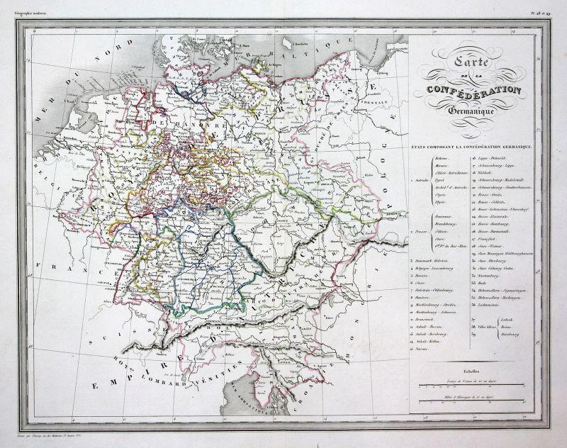 1837 Germany Deutschland Germanique map Karte carte Kupferstich antique print