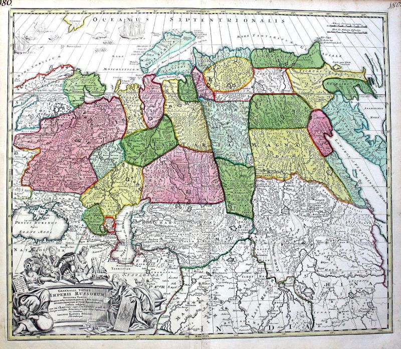 Ca. 1720 Russia Caspian Sea China Karte map Kupferstich antique print Homann