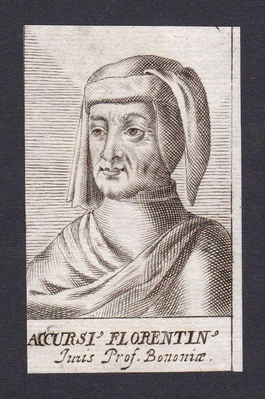17. Jh. - Accursio Accursius / lawyer Professor Bologna Portrait Kupferstich