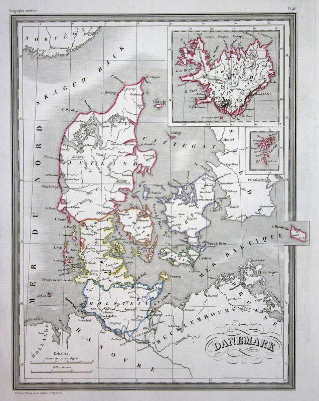 1837 Dänemark Danemark Denmark Europa Europe Jütland map Karte carte