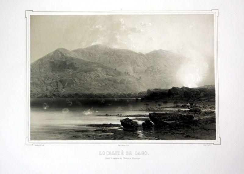 Ca. 1860 Lago Boracifero Toskana Italien view Ansicht veduta Lithographie 110538