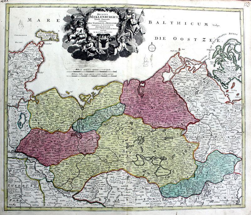 Stralsund Karte.Wismar Rügen Schwerin Rostock Stralsund Karte Kupferstich Antique Print Homann