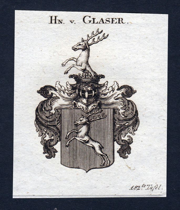 Ca. 1820 Glaser Wappen Adel coat of arms Kupferstich antique print heraldry