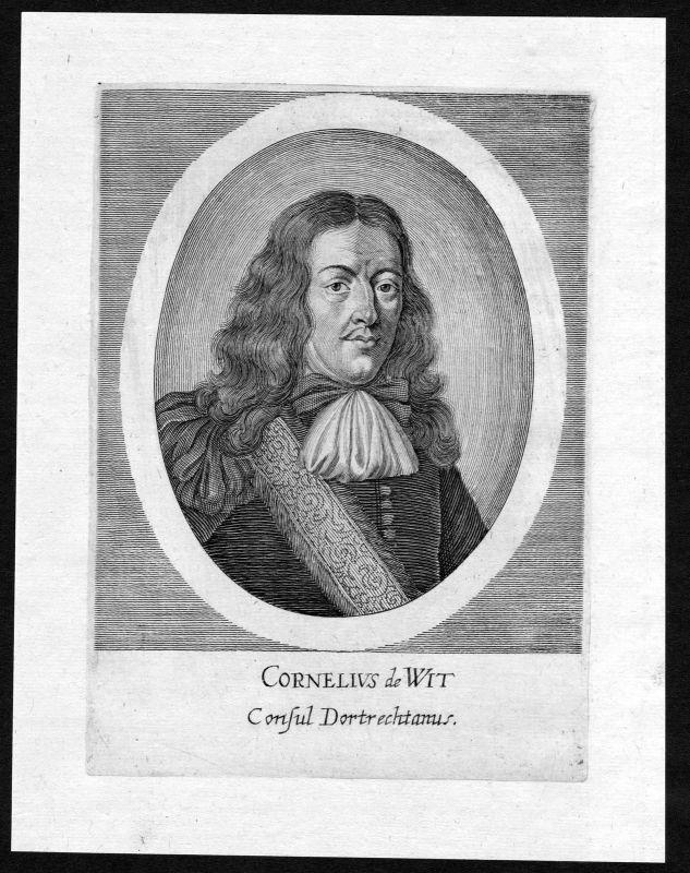 Ca. 1690 Cornelis de Witt Nederland Holland Portrait Kupferstich antique print