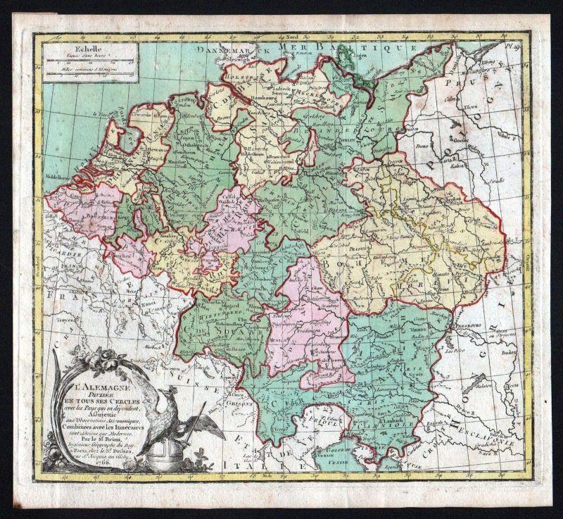 Deutsches Reich Karte.1766 Deutschland Deutsches Reich Brion Map Karte Kupferstich