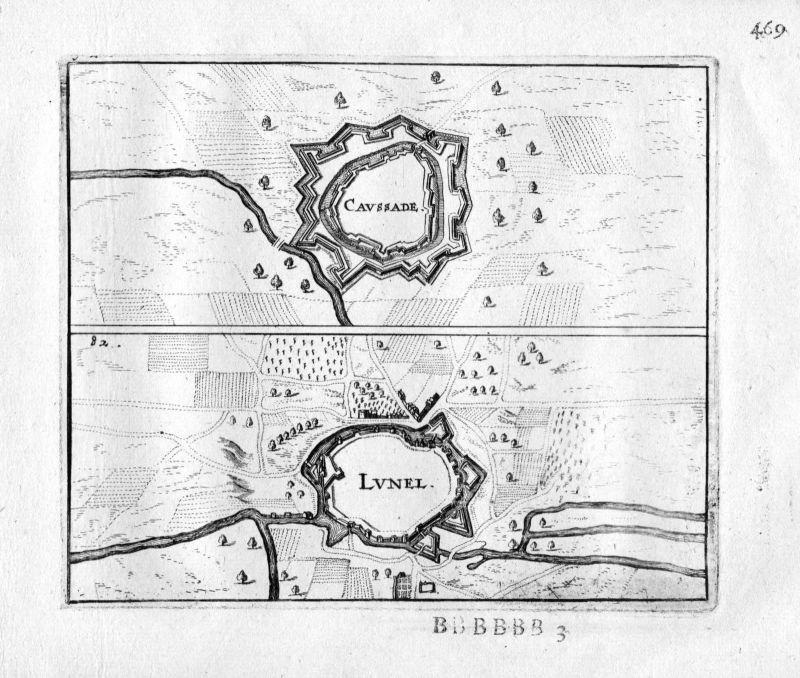 1666 - Caussade Lunel Tarn Garonne Languedoc France gravure estampe Kupferstich