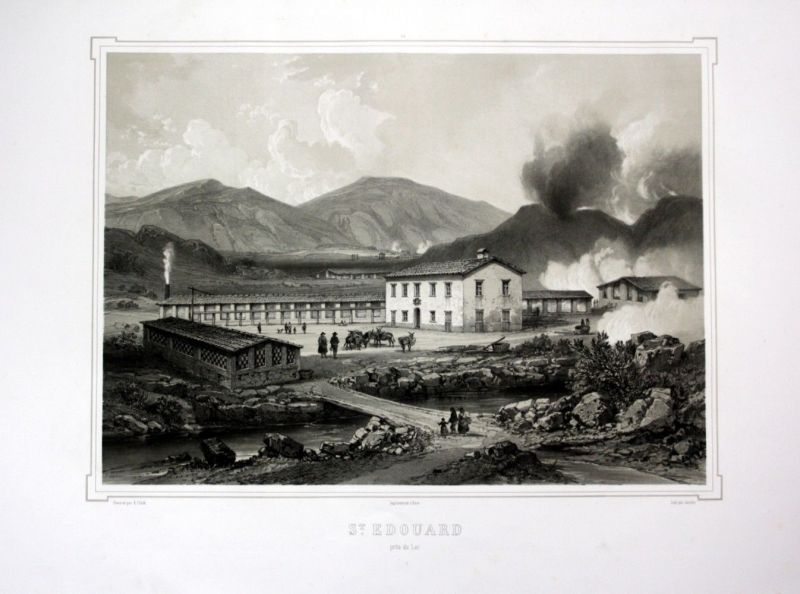 Ca. 1860 San Edoardo Italia Italien Toskana Tuscany veduta Lithographie Litho