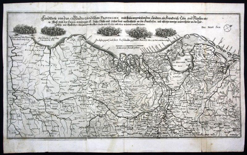 Ca 1680 Niederlande Nederland gravure Karte map Kupferstich antique print Merian