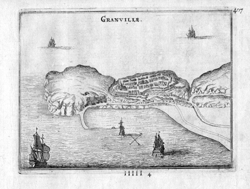 1666 - Granville Manche Normandie France gravure estampe Kupferstich