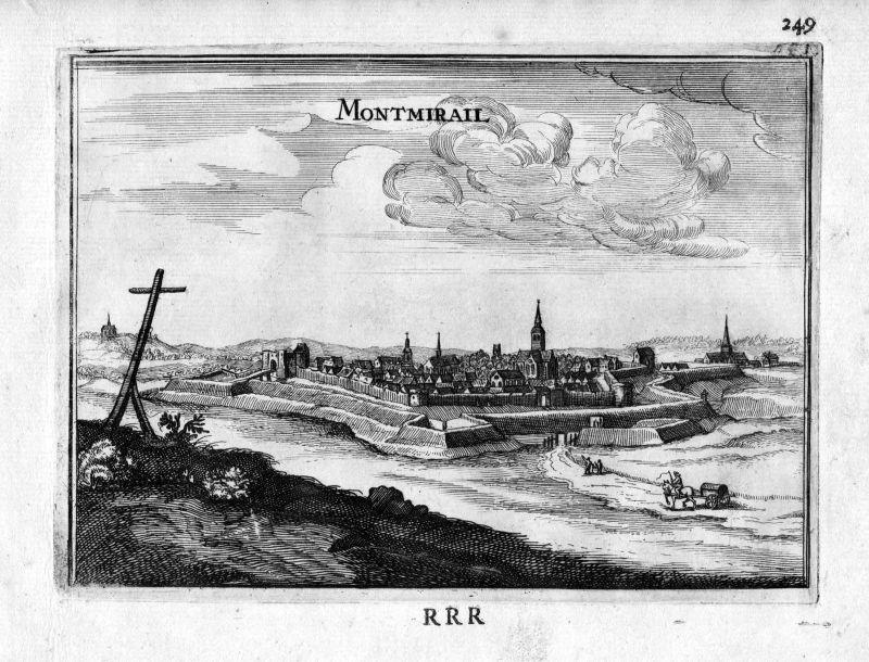 1666 Montmirail Marne vue Frankreich France gravure estampe Kupferstich