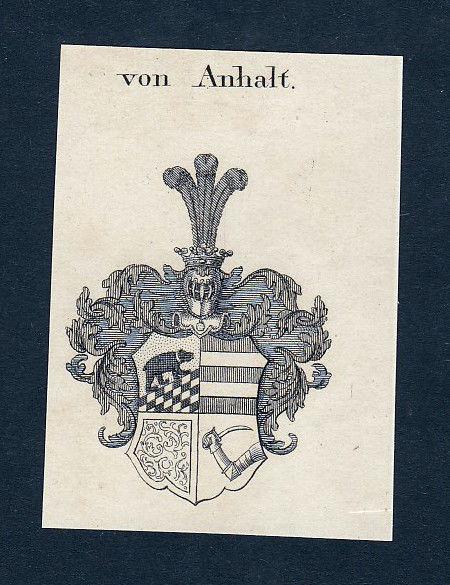 1820  Anhalt Wappen Adel coat of arms heraldry Heraldik Kupferstich engraving
