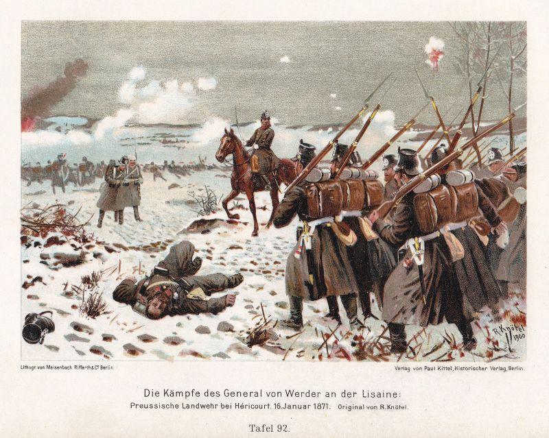 1900 Kämpfe General Werder Lisaine Hericourt Preußen Uniformen Lithographie