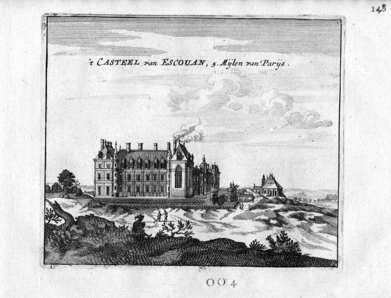 1666 Chateau Ecouen Paris Frankreich France gravure estampe Kupferstich