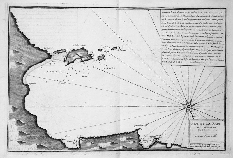 1732 Le Brusc Les Embiez gravure France carte Karte map antique print Ayrouard