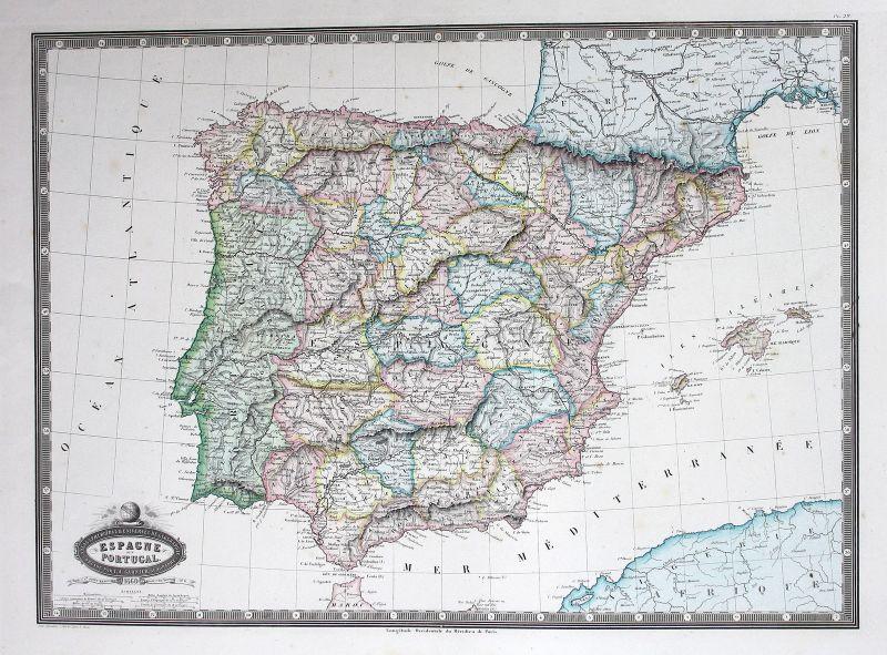 1860 Spain Espana Spanien Portugal map Karte mapa Stahlstich antique print
