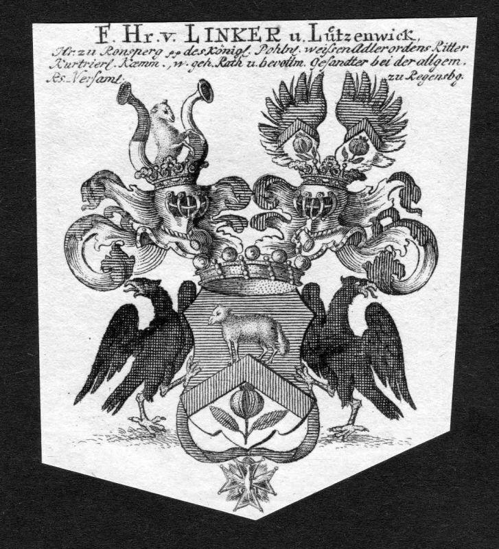 1820 Linker von Lützenwick Wappen Adel coat of arms heradlry Heraldik