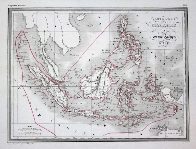 1837 Malaysia Malaisie Asien Asie Asia map Karte carte Kupferstich antique print
