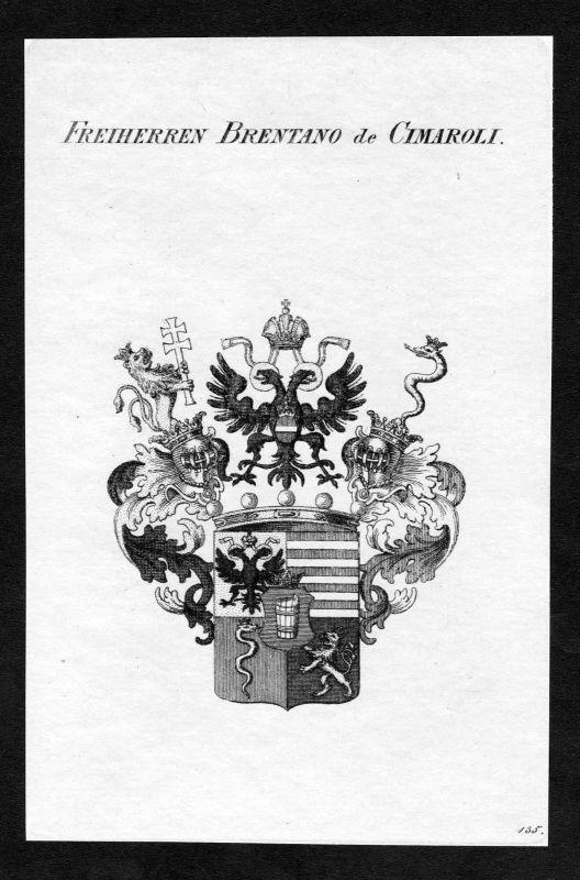Ca. 1820 Brentano-Cimaroli Wappen Adel coat of arms Kupferstich antique print