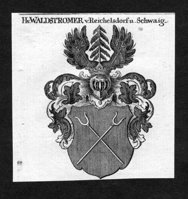 1820 Waldstromer von Reichelsdorf auf Schwaig Wappen Adel coat of arms Heraldik