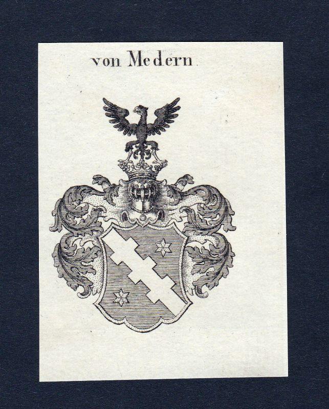 Ca. 1820 Medern Wappen Adel coat of arms Kupferstich antique print heraldry