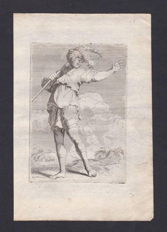 1690 Salvator Rosa Henri Bonnart Antike Soldat Stab antique etching Kupfe 137512